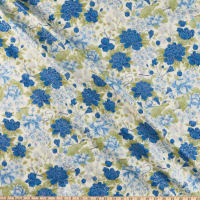 The Textile Pantry Summer Palace Metallic Floral Blue/Green