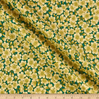 The Textile Pantry Summer Palace Metallic Blossom Green/Cream