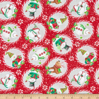 In The Beginning Fabrics Joy Peace & Love Candy Cane Red