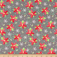 In The Beginning Fabrics Joy Peace & Love Poinsettia Multi