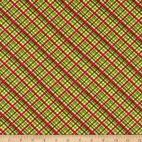 In The Beginning Fabrics A Poinsettia Winter Plaid Green/Red