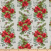 In The Beginning Fabrics A Poinsettia Winter Bouquet Red/Green