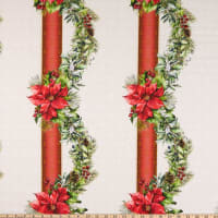 In The Beginning Fabrics A Poinsettia Winter Swag Border Red/Green