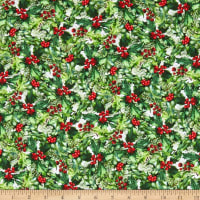 In The Beginning Fabrics A Poinsettia Winter Holly/Berries Red/Green