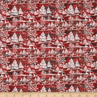 In The Beginning Fabrics A Poinsettia Winter Treescape Digital Red