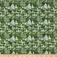 In The Beginning Fabrics A Poinsettia Winter Treescape Digital Green