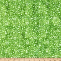 In The Beginning Fabrics A Poinsettia Winter Snow Swirls Digital Green
