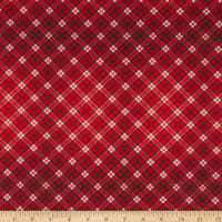 In The Beginning Fabrics A Poinsettia Winter Plaid Red