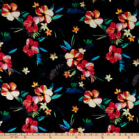 Kaufman Makaha Nights Rayon Poplin Black With Multi Flowers