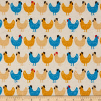 Kaufman Sevenberry Canvas Chickens Country