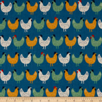 Kaufman Sevenberry Canvas Chickens Blue