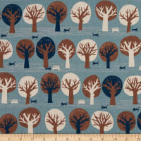 Kaufman Sevenberry Canvas Trees Blue