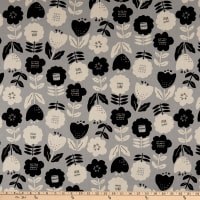 Kaufman Sevenberry Canvas Flowers Grey