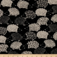 Kaufman Sevenberry Canvas Hedgehogs Black