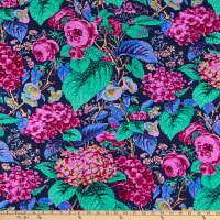 Kaffe Fassett Collective for FreeSpirit Rose and Hydrangea Navy