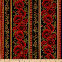 Kaufman Gilded Blooms Poppy Stripes Black
