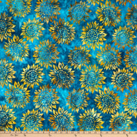 Kaufman Artisan Batiks Summer Flowers Sunflowers Breeze