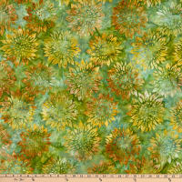 Kaufman Artisan Batiks Summer Flowers Sunflowers Grass