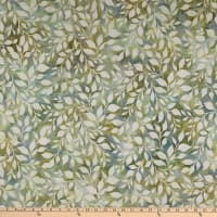 Kaufman Artisan Batiks Summer Flowers Leaves Sage