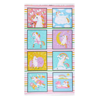 "Kaufman Magical Rainbow Unicorns 24"" Panel Rainbow"