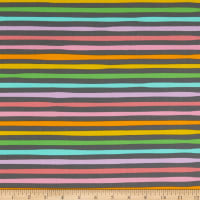 Kaufman Magical Rainbow Unicorns Stripes Charcoal
