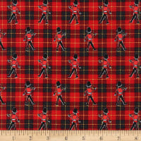 Kaufman Next Stop, London Guards on Plaid Red