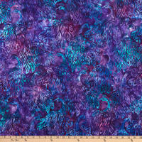 Kaufman Artisan Batiks Fancy Feathers 3 Peacocks Violet