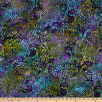 Kaufman Artisan Batiks Fancy Feathers 3 Peacocks Purple