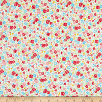 Lecien Antique Flower Pastel Floral Toss Snow White