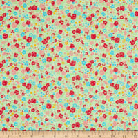 Lecien Antique Flower Pastel Floral Toss Tea Green