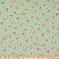 Lecien Antique Flower Pastel Floral Dot Tea Green