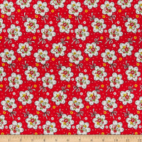 Lecien Retro 30's Child Smile Bouquet Red