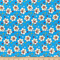 Lecien Retro 30's Child Smile Bouquet Blue
