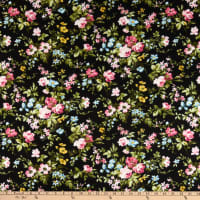 Maywood Studio Wild Rose Flannel Delicate Floral Black