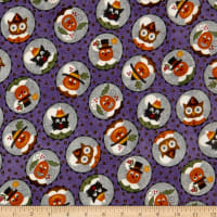 Maywood Studio Happy Jacks & Friends Flannel  Happy Circles Purple