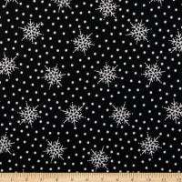 Maywood Studio Most Wonderful Time Flannel Falling Snow Black