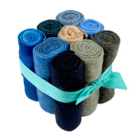 "In The Patch Designs Pre-Felted Hand Dyed Wool Cube O Curlers 4""x16"" Ocean & Lakes 9 Pcs"