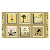 Bee A Keeper 24'' Repeat Block Print Panel Gold/Black