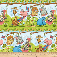 Studio E A Jungle Story Border Stripe Light Blue