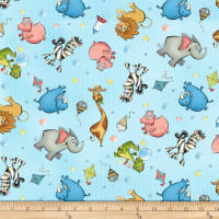 Studio E A Jungle Story Tossed Characters Light Blue