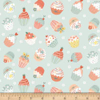 Woodland Tea Time Tossed Cupcakes Aqua