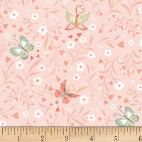 Woodland Tea Time Floral With Butterflies Pink