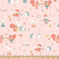 Woodland Tea Time Woodland Critters Allover Pink