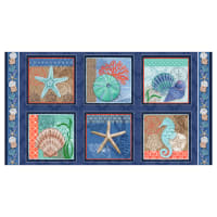"Coastal Dreams Block Repeat 24"" Panel Navy/Multi"
