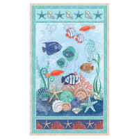 "Coastal Dreams Beach Scene 24"" Panel Aqua"