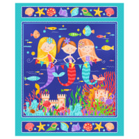 "Mermaids Rock 36"" Panel Turquoise"