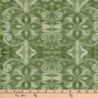 "Baroque Digital 108"" Quilt Backing Green"