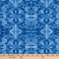"Baroque Digital 108"" Quilt Backing Blue"