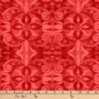 "Baroque Digital 108"" Quilt Backing Red"