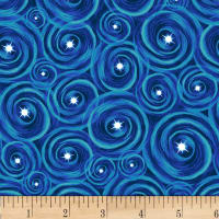 Lost In Space Swirls With Stars Blue